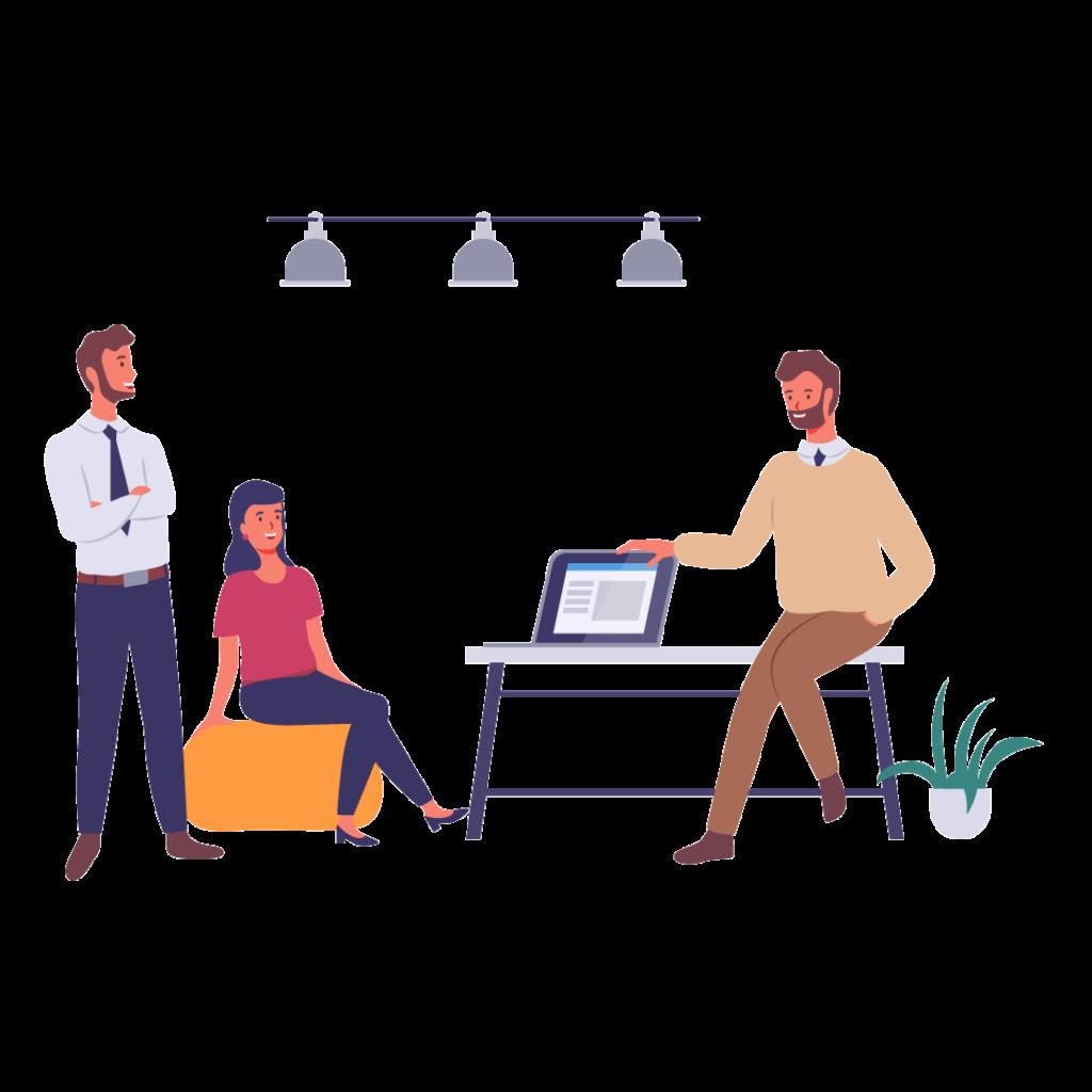 Cartoon of three people in an informal meeting